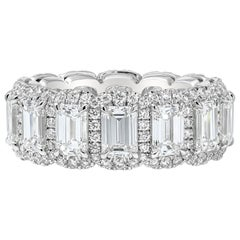 Roman Malakov Emerald Cut Diamond Halo Eternity Wedding Band