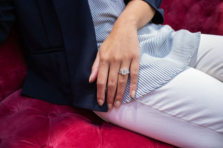 Roman Malakov Emerald Cut Illusion Diamond Cluster Engagement Ring For Sale 1