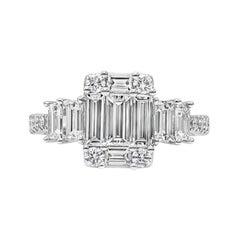 Roman Malakov Emerald Cut Illusion Diamond Cluster Engagement Ring