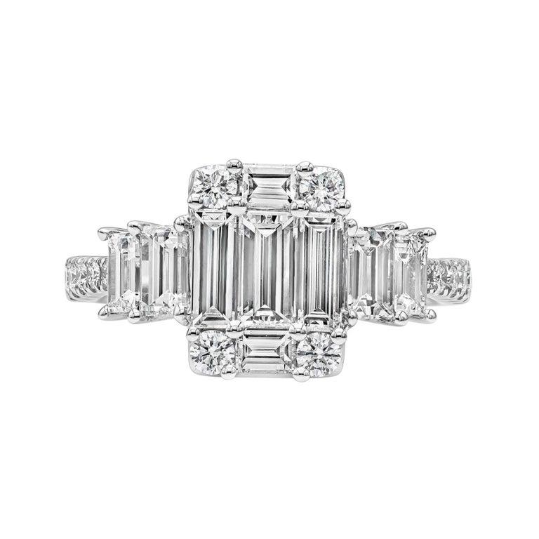 Roman Malakov Emerald Cut Illusion Diamond Cluster Engagement Ring For Sale