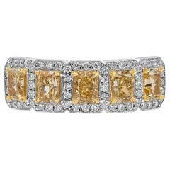 Roman Malakov, Fancy Yellow Diamond Halo Five-Stone Wedding Band