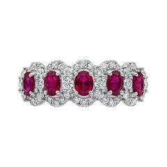 Roman Malakov Five-Stone Ruby and Diamond Halo Ring