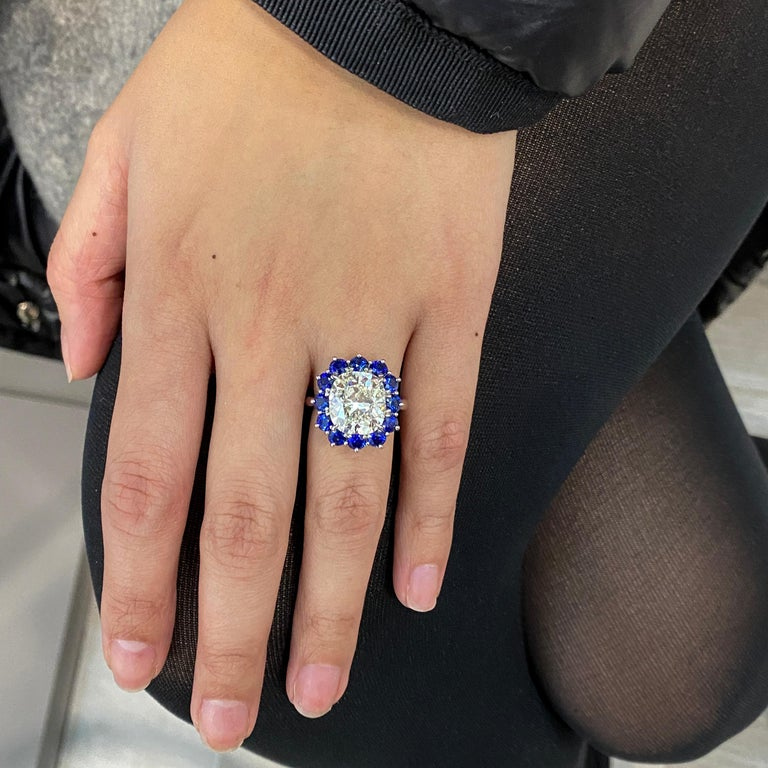 Roman Malakov GIA 7.04 Carat Cushion Cut Diamond and Blue Sapphire Halo Ring In New Condition For Sale In New York, NY