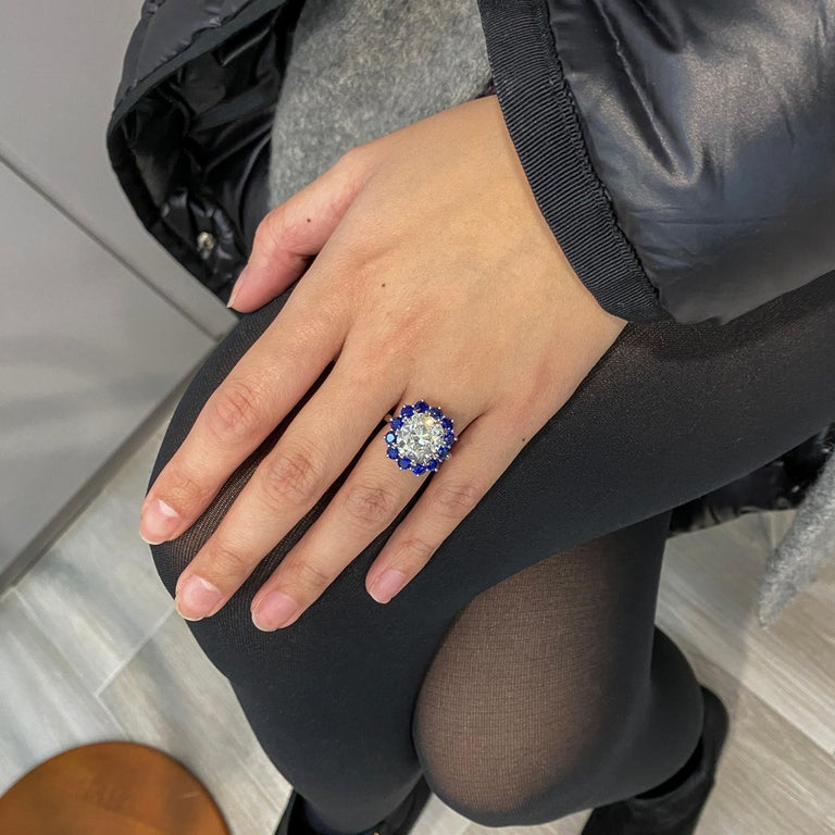 Women's Roman Malakov GIA 7.04 Carat Cushion Cut Diamond and Blue Sapphire Halo Ring For Sale