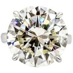 Roman Malakov GIA Certified 19.07 Carat Round Diamond Solitaire Engagement Ring