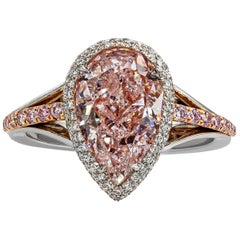 Roman Malakov GIA Certified 3.04 Carat Pear Shape Pink Diamond Halo Ring