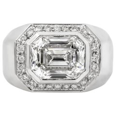 Roman Malakov GIA Certified 3.14 Carat Emerald Cut Diamond Men's Ring