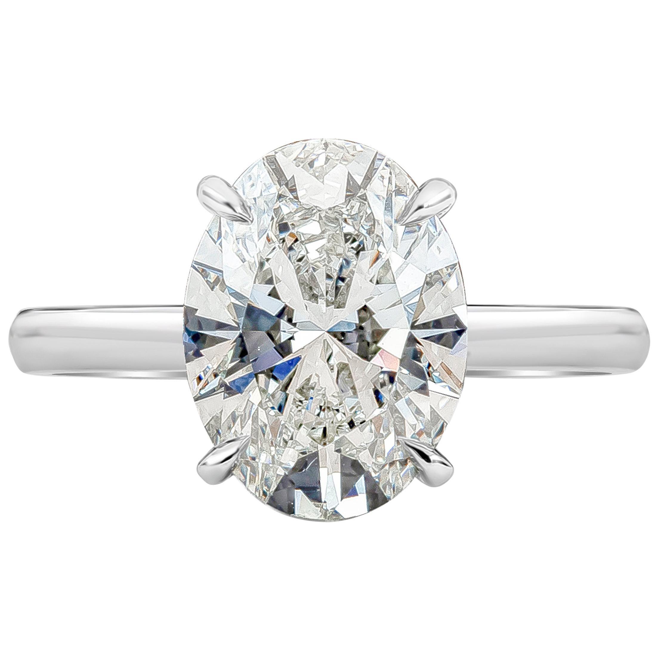 Roman Malakov GIA Certified 3.50 Carat Oval Cut Diamond Engagement Ring
