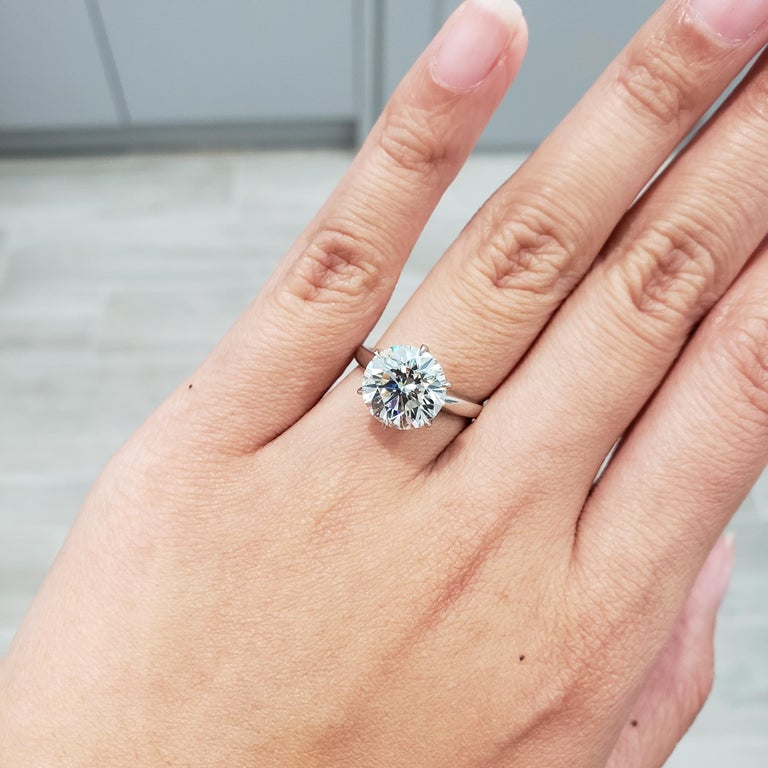 Round Cut Roman Malakov GIA Certified 4.01 Carat Round Diamond Solitaire Engagement Ring For Sale