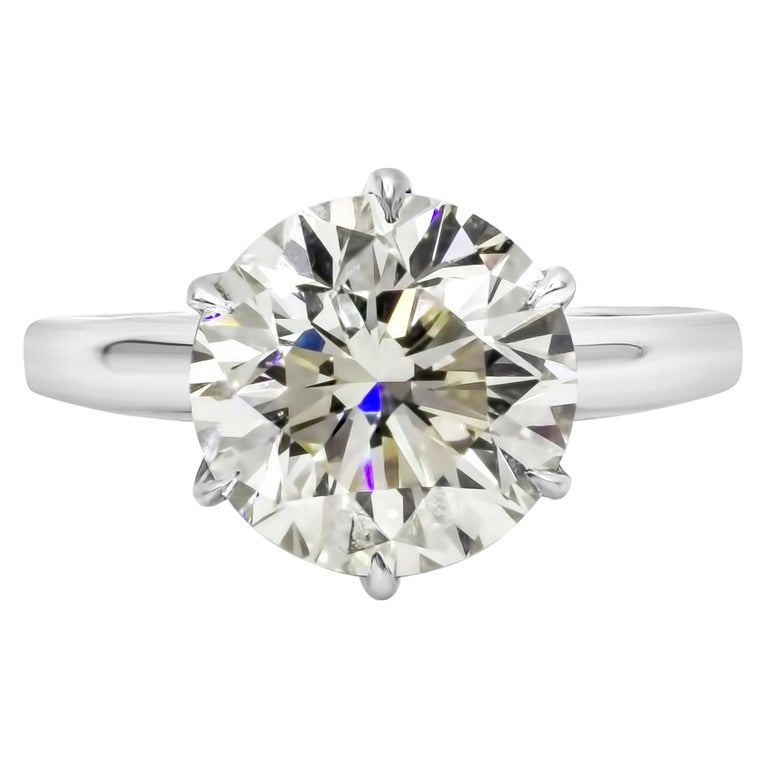 Roman Malakov GIA Certified 4.01 Carat Round Diamond Solitaire Engagement Ring For Sale