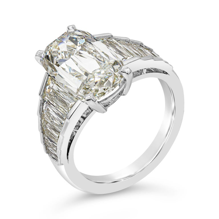 Contemporary Roman Malakov GIA Certified 5.60 Carat Elongated Cushion Diamond Engagement Ring For Sale