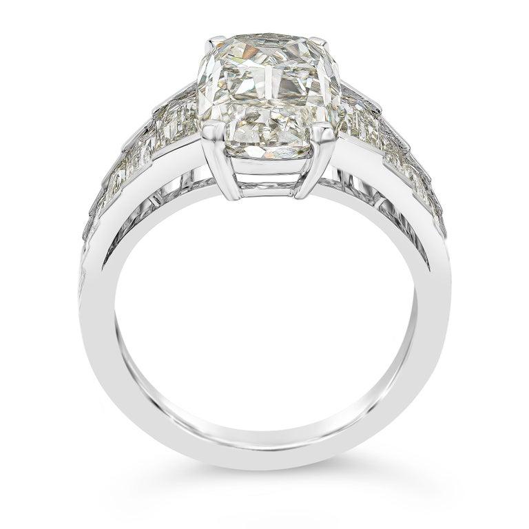 Cushion Cut Roman Malakov GIA Certified 5.60 Carat Elongated Cushion Diamond Engagement Ring For Sale