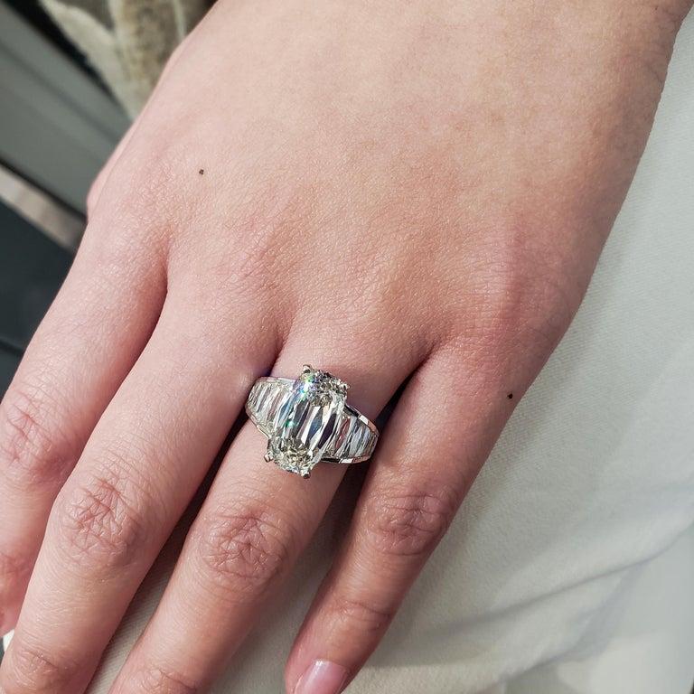 Roman Malakov GIA Certified 5.60 Carat Elongated Cushion Diamond Engagement Ring For Sale 1