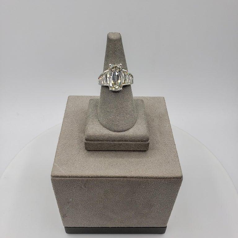 Roman Malakov GIA Certified 5.60 Carat Elongated Cushion Diamond Engagement Ring For Sale 2