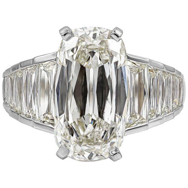 Roman Malakov GIA Certified 5.60 Carat Elongated Cushion Diamond Engagement Ring For Sale