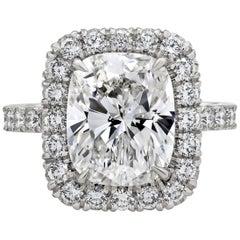 Roman Malakov GIA Certified Cushion Cut Diamond Halo Engagement Ring