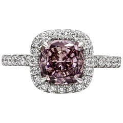 Roman Malakov GIA Certified Cushion Cut Pink Diamond Halo Engagement Ring