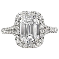 Roman Malakov GIA Certified Emerald Cut Diamond Halo Engagement Ring