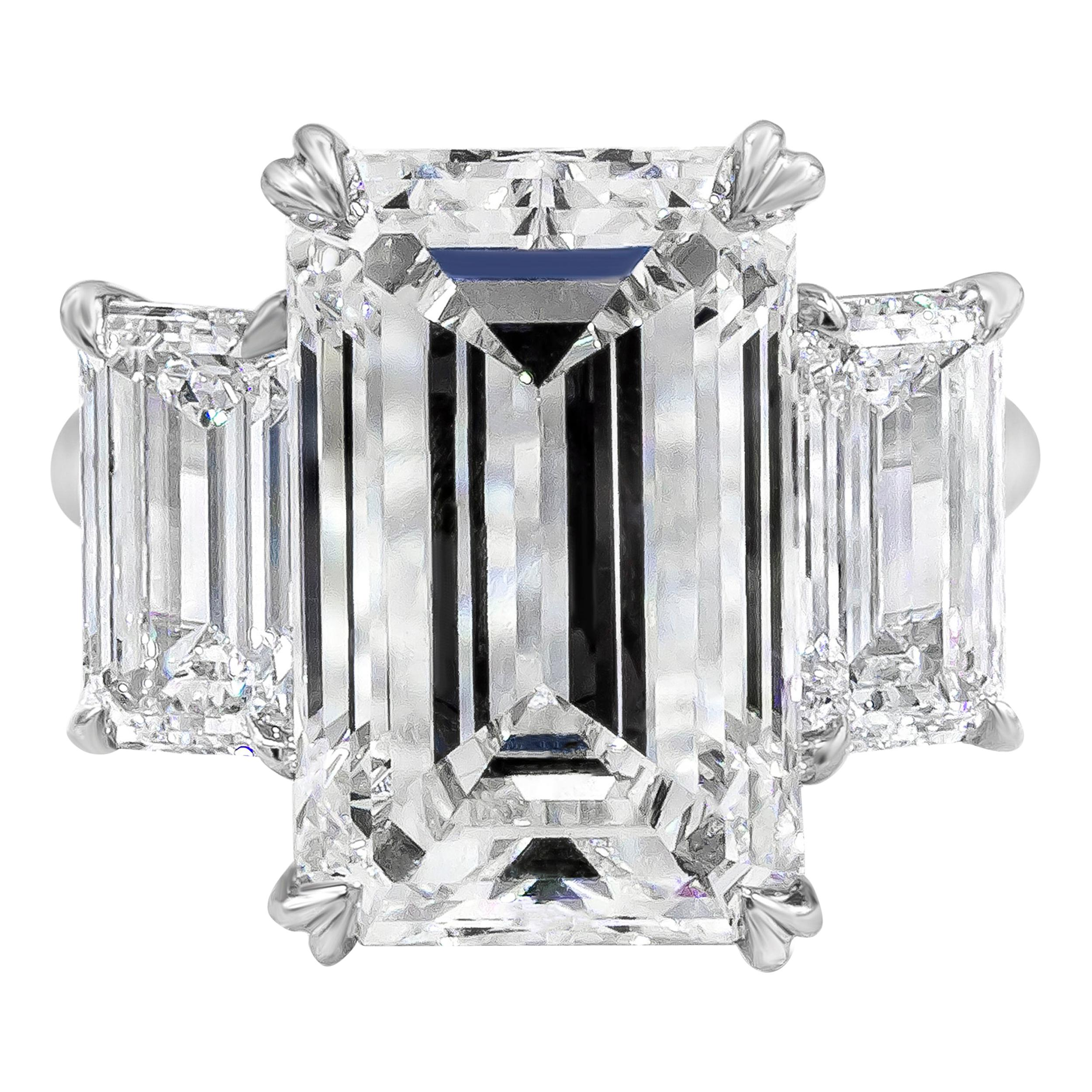 Roman Malakov GIA Certified Emerald Cut Diamond Three-Stone Engagement Ring