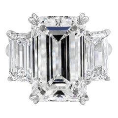 Roman Malakov GIA Certified Emerald Cut Diamond Three-Stone Engagement Ring