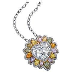 Roman Malakov GIA Certified Heart Shape Diamond Lion Mane Halo Pendant Necklace