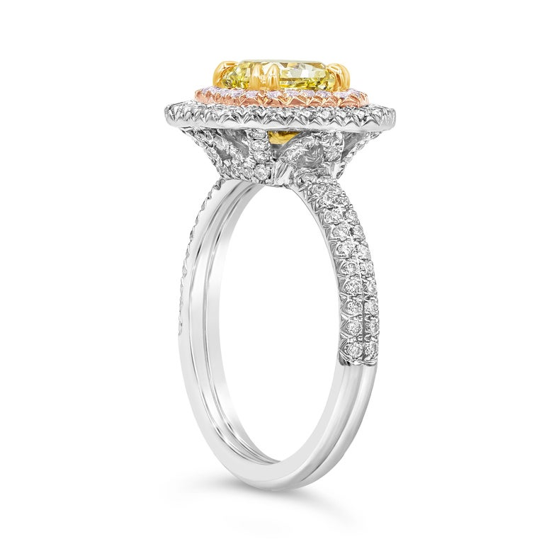 Contemporary Roman Malakov GIA Certified Intense Yellow Diamond Double Halo Engagement Ring For Sale