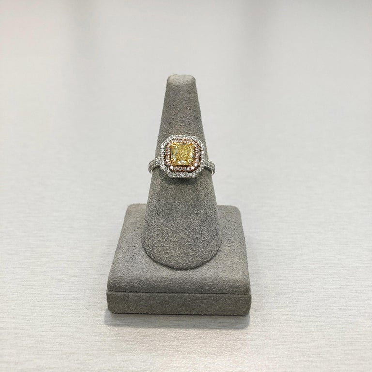 Roman Malakov GIA Certified Intense Yellow Diamond Double Halo Engagement Ring In New Condition For Sale In New York, NY