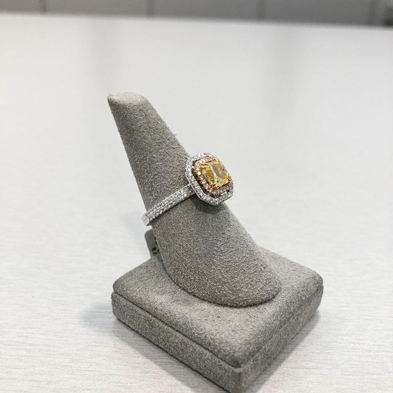 Women's Roman Malakov GIA Certified Intense Yellow Diamond Double Halo Engagement Ring For Sale