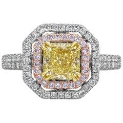 Roman Malakov GIA Certified Intense Yellow Diamond Double Halo Engagement Ring