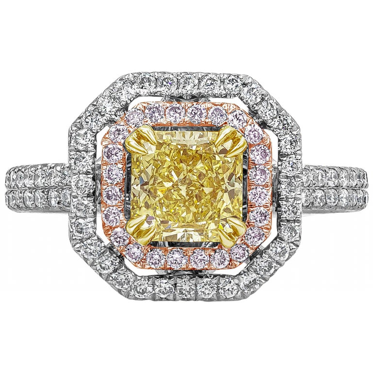 Roman Malakov GIA Certified Intense Yellow Diamond Double Halo Engagement Ring For Sale