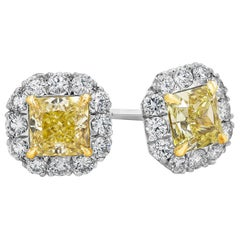 Roman Malakov, GIA Certified Intense Yellow Diamond Halo Stud Earrings
