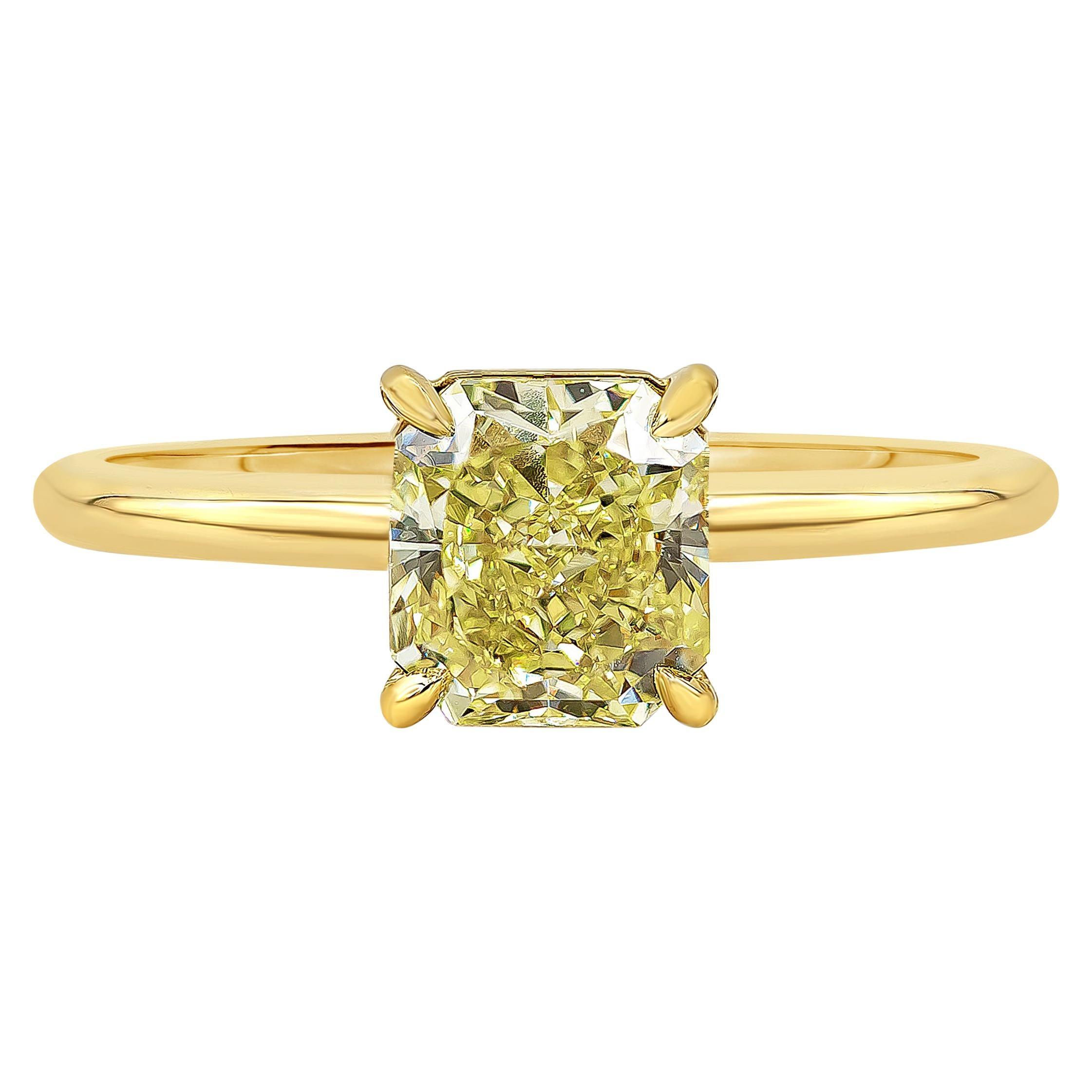 Roman Malakov GIA Certified Intense Yellow Diamond Solitaire Engagement Ring
