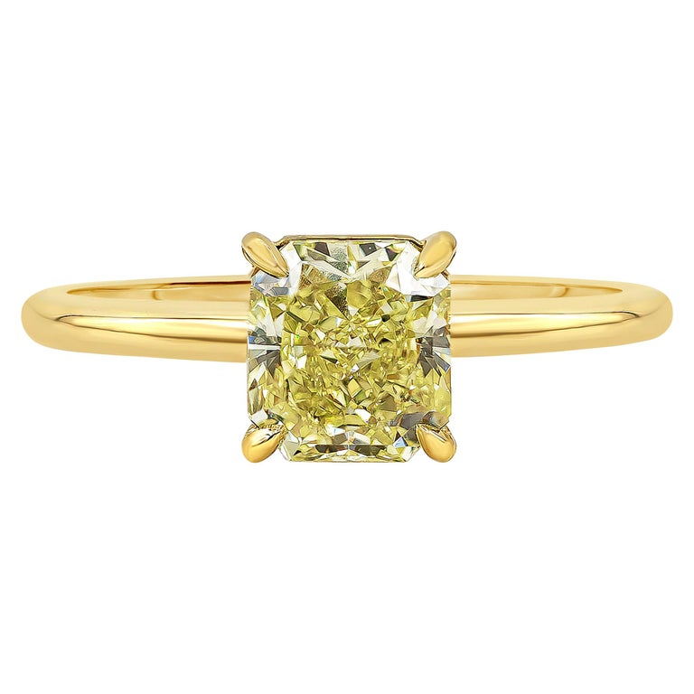 Roman Malakov GIA Certified Intense Yellow Diamond Solitaire Engagement Ring For Sale