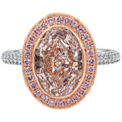 Roman Malakov, GIA Certified Oval Cut Pink Diamond Halo Engagement Ring