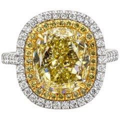 Roman Malakov GIA Certified Oval Cut Yellow Diamond Double Halo Engagement Ring