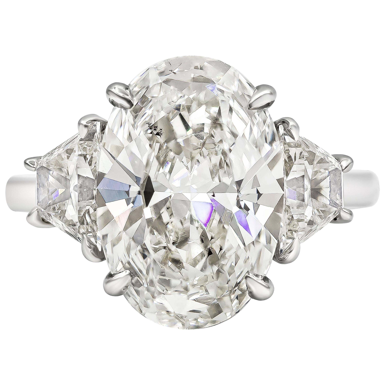 Roman Malakov GIA Certified Oval Diamond Three-Stone Engagement Ring