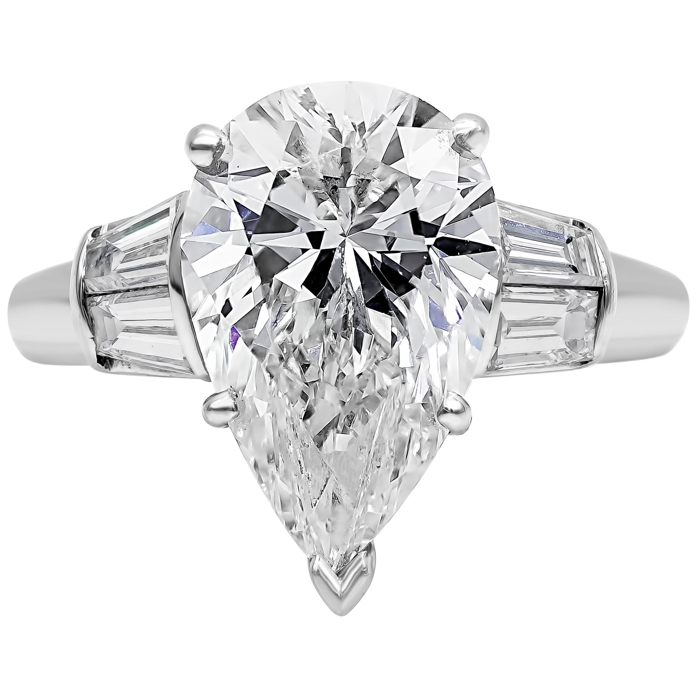 Roman Malakov GIA Certified Pear Shape Diamond Three-Stone Engagement Ring