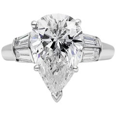 Roman Malakov GIA Certified Pear Shape Diamond Three-Stone Engagement Ring