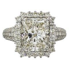 Roman Malakov GIA Certified Radiant Cut Diamond Halo Engagement Ring