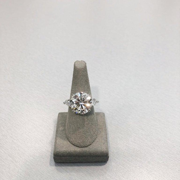 Round Cut Roman Malakov GIA Certified Round Diamond Three-Stone Engagement Ring For Sale