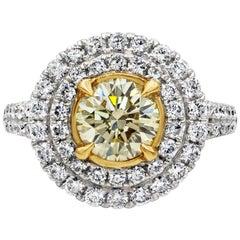 Roman Malakov GIA Certified Yellow Diamond Double Halo Engagement Ring