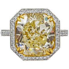 Roman Malakov GIA Certified Yellow Diamond Halo Engagement Ring