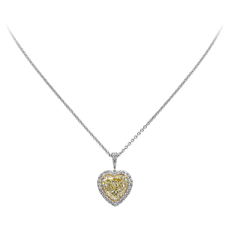 Roman Malakov GIA Certified Yellow Diamond Halo Heart Pendant Necklace
