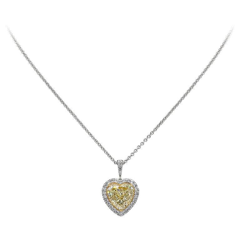Roman Malakov GIA Certified Yellow Diamond Halo Heart Pendant Necklace For Sale