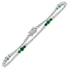 Roman Malakov, Green Emerald and Diamond Tennis Bracelet
