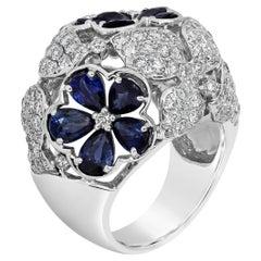 Roman Malakov, Micro-Pave Diamond and Sapphire Flower Dome Ring