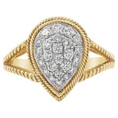 Roman Malakov Micro-Pave Pear Shape Diamond Fashion Ring