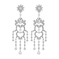 Roman Malakov Open-Work Diamond Chandelier Earrings in 18k White Gold