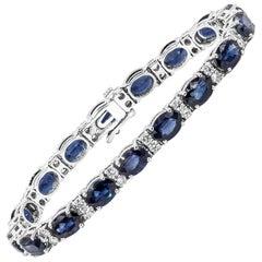 Roman Malakov Oval Cut Blue Sapphire and Diamond Tennis Bracelet