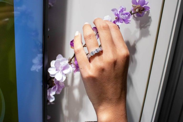 Contemporary Roman Malakov Oval Cut Diamond East-West Eternity Wedding Band For Sale